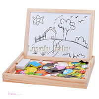art easels - Fashion Wooden Kids Jungle Art Fantastic Easel Puzzle Magnetic Painting Drawing Board Blackboard Learning amp Education Toys