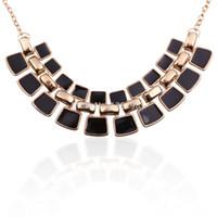 ao gold - Unique Rail Track Drop Glaze Chain Gold Filled Pendant Necklace AO P