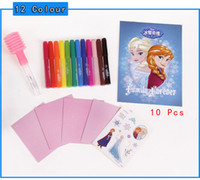Wholesale Spray Paint Can Wholesale - Wholesale-2015 New Arrival Anna Elsa 12 Can Spray Watercolor Magic Novelty Pen Drawing Painting Writing Educational Kids Doodle Toys Gift