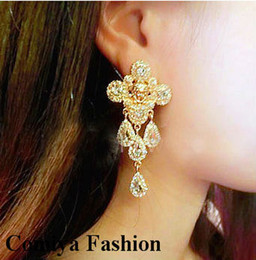 Wholesale Gold rhinestone ethnic drop evening women earrings fashion statement large earrings for elegant allied expressb rand