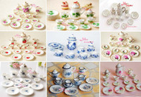 Wholesale of Tea Cup Set NEW Dining Dish Plate Scale Dollhouse Miniature Furniture For Doll China Toy