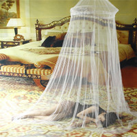 Cheap Wholesale-1pc Elgant Round Lace Mosquito Net Solid White Mosquito Net Bed Light Mosquitero Easy for Using Klamboe Bed Canopy