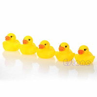Cheap Wholesale-A96 Free Shipping 10pcs lot Yellow Baby Children Bath Toys Cute Rubber Squeaky Duck Ducky