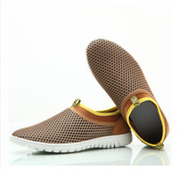 gauze fabric - Hot Men s Casual Flats Shoes Summer Breathable network gauze sandals plus size US the tide Men shoes