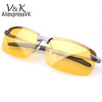 Cheap Wholesale-Polarized Sunglasses Night Vision Goggles men's car Driving Glasses Anti-glare Silver Black Alloy Frame glasse 50