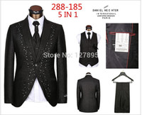 mens dress suit - Men top Brand Formal Dress Suits Fashion buttons Business Suit Style Mens Prom Tuxedo coat pants