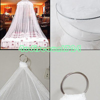 Cheap Wholesale-white elegant canopy ring lace queen princess bed netting mosquito net curtain for double bedEQZ418 curtains curtain cortina