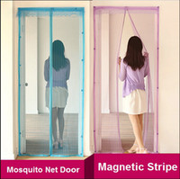 Wholesale New Hot Hands free Magic Mesh Magnetic Screen Mosquito Net Kitchen Door Curtain Anti Bug Magnets cortinas Beige