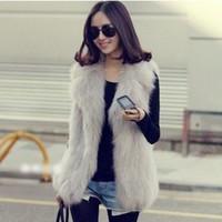 artificial fur vest - winter artificial rabbit fur coat vest fox fur vest waistcoat big collar long women coat winter jacket women cardigans colete
