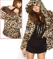 Wholesale fashion lady thicking Leopard Hoodies Faux fur coat Outerwear hot sale