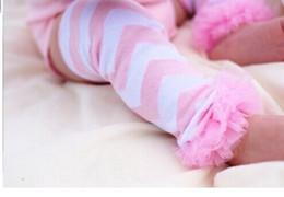 Wholesale-1 Pair Baby Toddler Girl Pink Lace Ruffle Chevron Leg Warmers Leggings Newborn Photo Props
