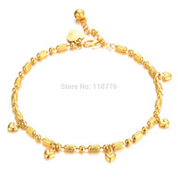 Wholesale New Arrival Fashion The Bride Jewelry K Gold Plated Bamboo Chain Heart Setting Charm Anklets Bracelet For Women