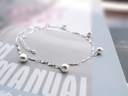 Wholesale-925 Sterling Silver Anklets Lovely Bell Pendant Sterling Silver Party Jewelry Foot accessories Wholesale