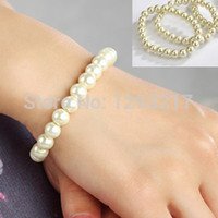 Wholesale Fashion Women Single Row Round Faux Pearl Stretch Bracelet mm Bead Bangle A1232 KK7d