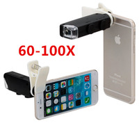Cheap Wholesale-60X to 100X Zoom LED Microscope Magnifier Micro Mobile Phone Lens Camera with Universal Clip For iPhone Samsung HTC Huawei