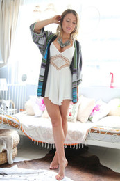 Wholesale Summer Women Sexy Rompers White Hollow out short cotton solid beach Tape clothing jumpsuit size DF692