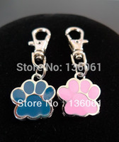 antique prints lots - Fashion Vintage Silvers PINK BLUE ENAMEL DOG CAT PAW PRINT ANIMAL Keychains Lobster Swivel Clasp Key Chain Accessories