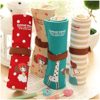 Cheap Wholesale-Free Shipping Japanese and Korean Style canvas elegant stationery pen bag pencil case fashion gift women`s girl`s brush bag