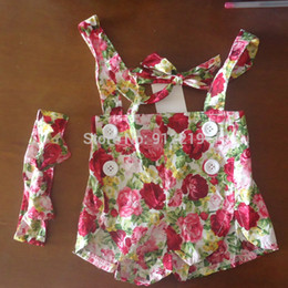 Wholesale Retail New Children Summer Clothes Floral Girls Shorts Baby Girls Overalls With Headband Cute Kids Summer Wear Girl Bottoms