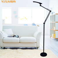 bedside lamp height - Dimmable touch modern brief black led floor lamp bedside piano lamp long arm lighting height adjustable modern luminaria de piso