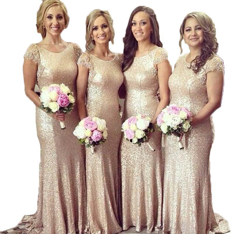 Wholesale-New Arrival Elegant Vestido De Mermaid Women's Long Champagne Sequined Bridesmaid Dress 2015 Short Sleeve Wedding Party Dress