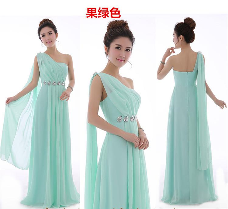 Wholesale-Long Mint Green Bridesmaid Dress One Shoulder High Quality Chiffon Party Dresses Light Yellow Bridesmaid Dresses Under $50