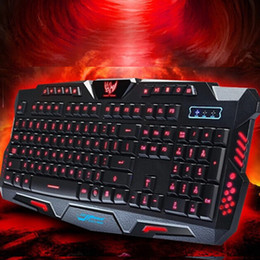 Wholesale new New Wired Tri color Backlight Flyingcolors Mechanical Touch Gaming Keyboard Game Advanced Keyboard