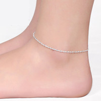 Cheap Wholesale-Ankle chain bracelet foot 925 sterling silver anklets Elegant water wave anklet Twisted rope tornozeleira for women JL016R