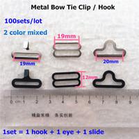 Wholesale color option sets Metal Adjustable Bow Tie Hardware Necktie Hook Cravat Clips Fasteners
