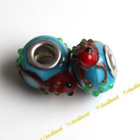 Wholesale 20 New Lampwork Glass Charm Beads Red Frog Blue Glass Bead Fit Diy Bead Bracelet mm