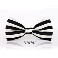 ascot ties cravat - Piece Fashion Bow Tie For Men Women Classic Black White Cross Striped Pattern Bowtie Leisure Polyester Cravat