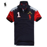 100% cotton plus size - Big Horse number New Polo Men shirt Cotton Mens Polo Shirts brands Short Sleeve Classic solid Plus size XXL