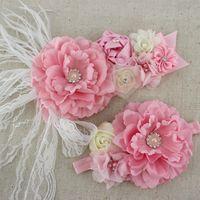 Wholesale set pink white ivory baby girl flower sash matching peony flower headband mom baby shower sash
