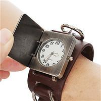 beaded wrist watch - New Hot Punk han edition men fashion bracelet with cross flip leather punk metal chain bracelet wrist watch watchfree ship