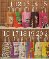 Cheap Wholesale-happy birthday bag, Festival paper gift bags for happy birthday,Birthday party kraft Paper bag with handles