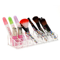 acrylic lip gloss display holder - New Grids Acrylic Transparent Lip Gloss Lipstick Holder Display Stand Cosmetic Organizer Makeup Case Cosmetic Storage Box