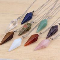 Wholesale Natural Gem Stone Hexagon Pyramid Reiki Pendulum Pendant Charms Healing Chakra Amulet European Fashionable Jewelry X Mix Order