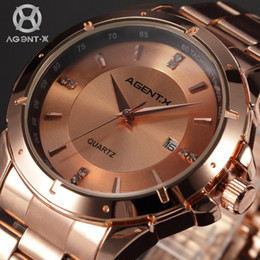 Wholesale Agent X Rose Gold Stainless Steel Case Reloje Masculino Auto Date Display Analog Steel Band Men Quartz Bussiness Watch AGX025