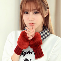 best winter mittens - fashion Cute Faux Rabbit Fur Hand Winter Warmer Knitted Fingerless Gloves Women Mitten Best quality colors