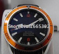 auto bezel - Men s Black Dial Orange Bezel Ocean Watch Men Rubber Mechanical Date Co Axial Dive Mens Sports Watches