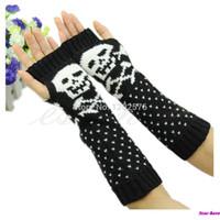 Wholesale Hot Women Skull Knitted Wrist Arm Long Fingerless Mitten Winter Gloves Soft Warm