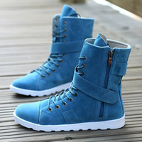 mens boots - Boots Men Fashion Brand Ankle High Boots Shoes Bota Masculina Mens Fashion Boots Men BLACK amp BLUE Shoe