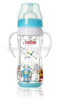 Wholesale Bobo Baby Safety Bobo Baby Safety Glass Feeding Bottle Wide Mouth Transparent Variable Flow for Months Kid feeding BP530B
