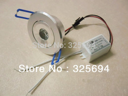 Wholesale 1W LED Recessed Downlight Cabinet Lamp silver shell v down light driver of HongKong Post Air Mail