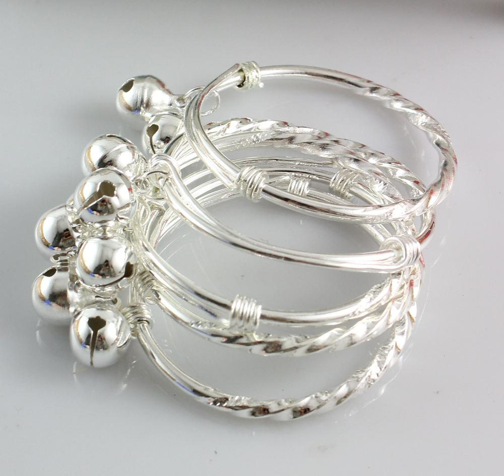 Baby Child Silver Bangles Jingle Bell Charms Girls Or Boys ...