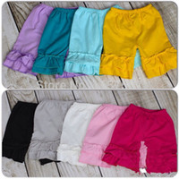 Wholesale by DHL Boutique Girls Double Ruffled Cotton Knit Shorts Leggings pieces colors for your choice