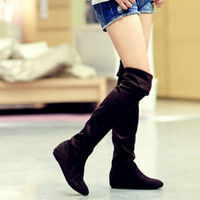 Wholesale Casual Flats Womens Autumn Winter Soft Elastic Nubuck Suede Fold Over Knee High Boots Shoes Women Black top size