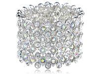 aurora borealis bracelet - Chunky Aurora Borealis Silver Tone Crystal Rhinestone Wedding Bridal Statement Cuff Bracelets Bangles