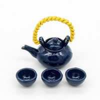 Wholesale Dollhouse Miniature Metal Kung fu Tea Cup Set with Teapot