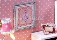 Wholesale Wooden Doll House Miniature w Light and Cover Angel Love Pink Bed Room Display Home Deco